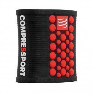 COMPRESSPORT Serre-poignet SWEATBANDS 3D.DOTS | Noir/Rouge